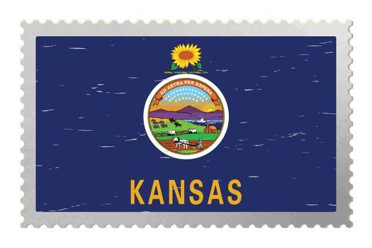 Kansas US flag on old postage stamp, vector