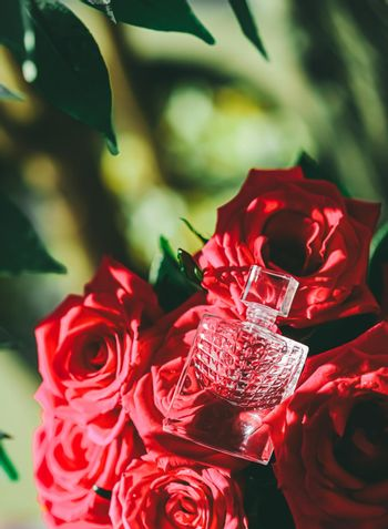 Girly perfume scent and red roses, perfumery as luxury gift, beauty flatlay background and cosmetic product ad