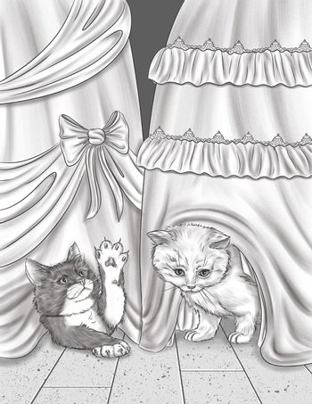 Two Small Cats Playing And Hiding Below Party Dress Colorless Line Drawing. Domesticated Feline Plays Under Gown Coloring Book Page.