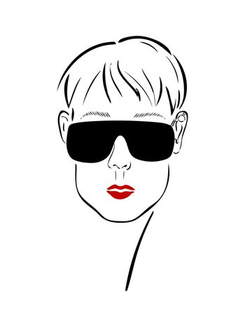 Graphic face of a girl in glasses with a cartilaginous earring and red lips. Vector drawing of a fashion sketch.