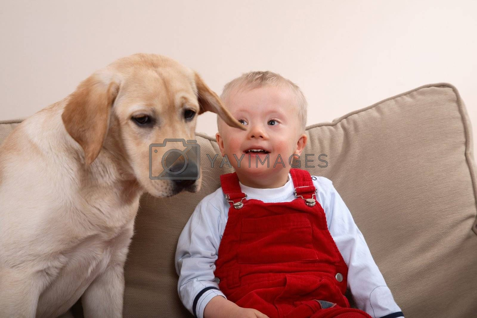 Dog therapy for boy with Down Syndrome.