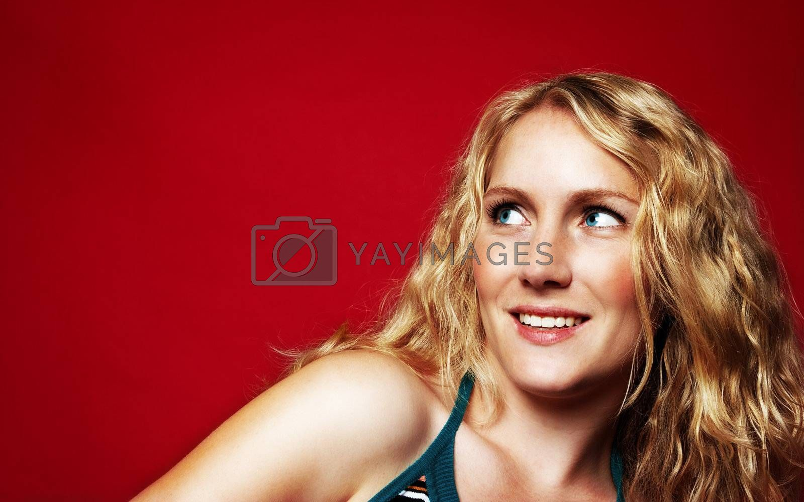 Pretty blond girl on red by MikLav