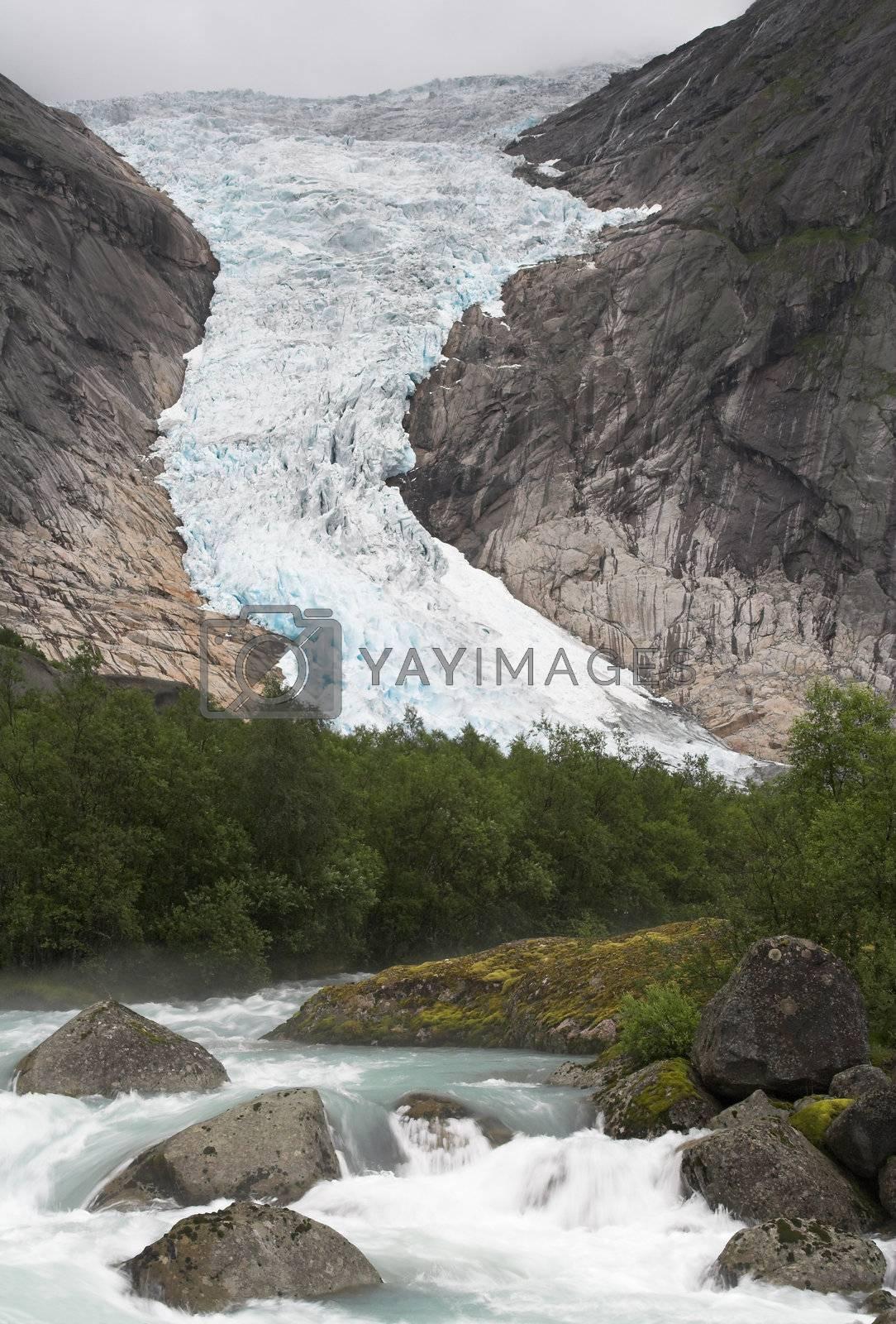 Cascading stream at Briksdal glacier by MikLav