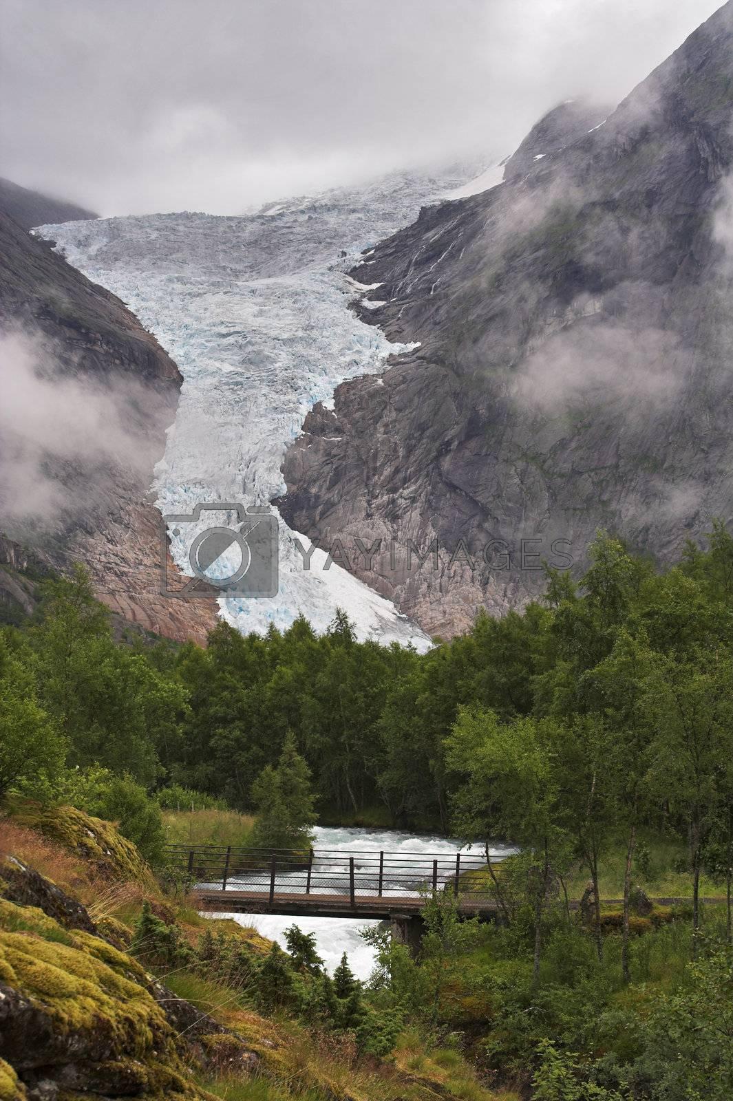 Bridge over the stream at Briksdal glacier by MikLav