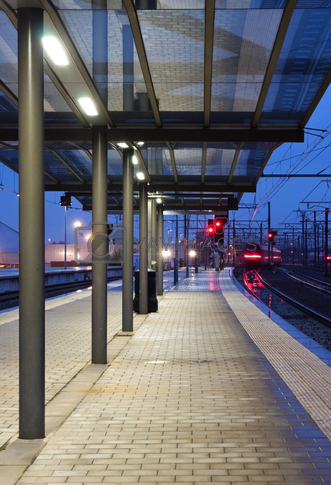 Train leaving the station  by MikLav