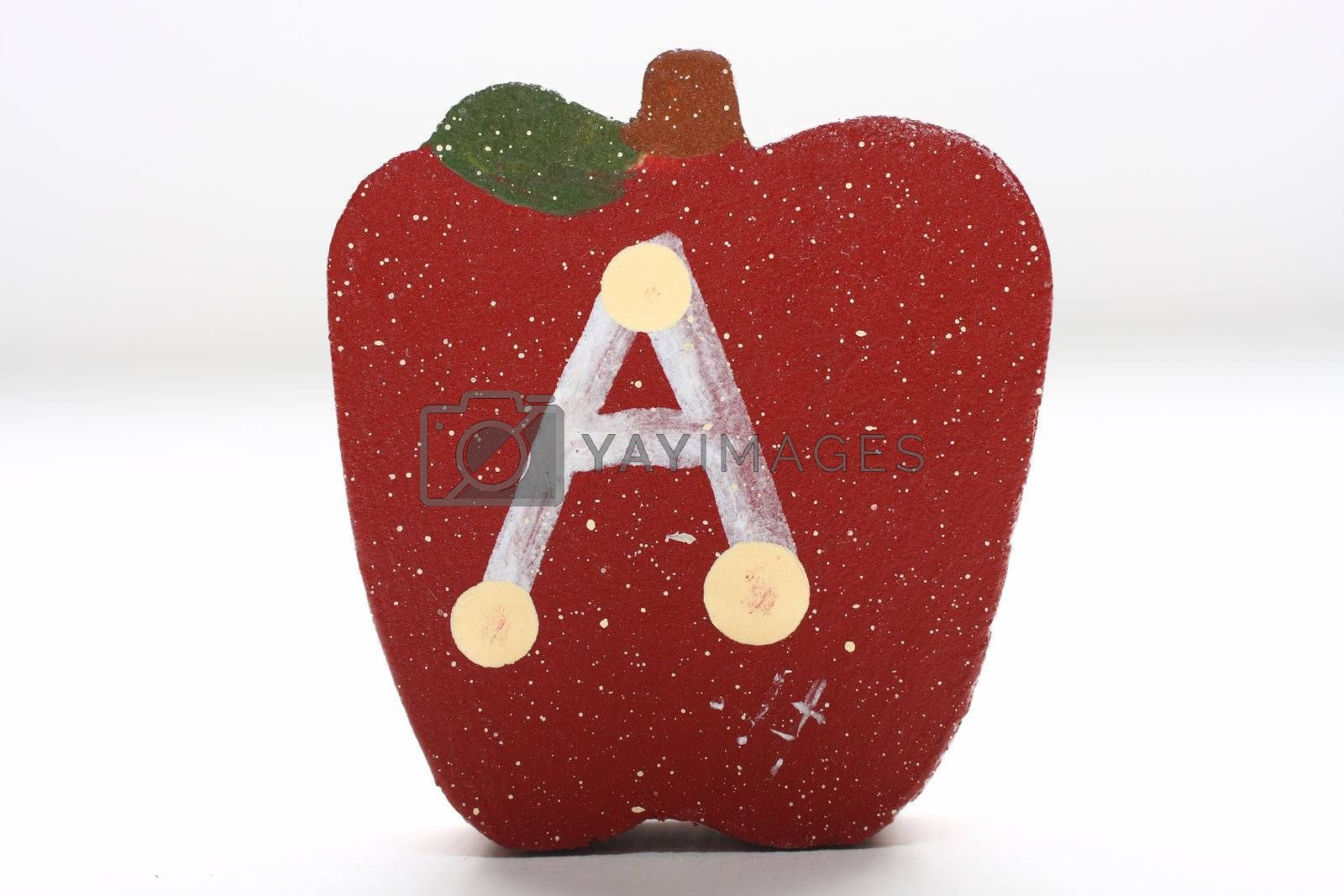 "Wooden Apple with Letter ""A"" by dersankt"