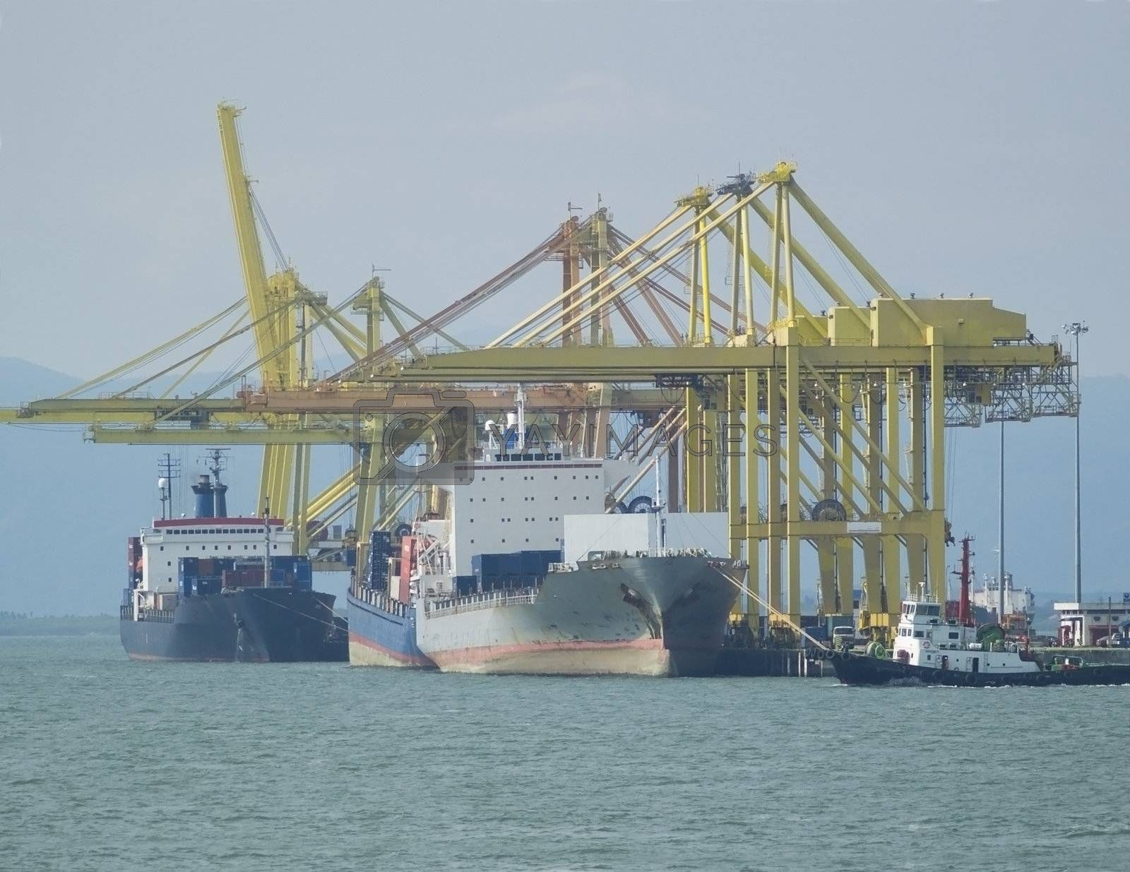 Container ships at harbour by epixx