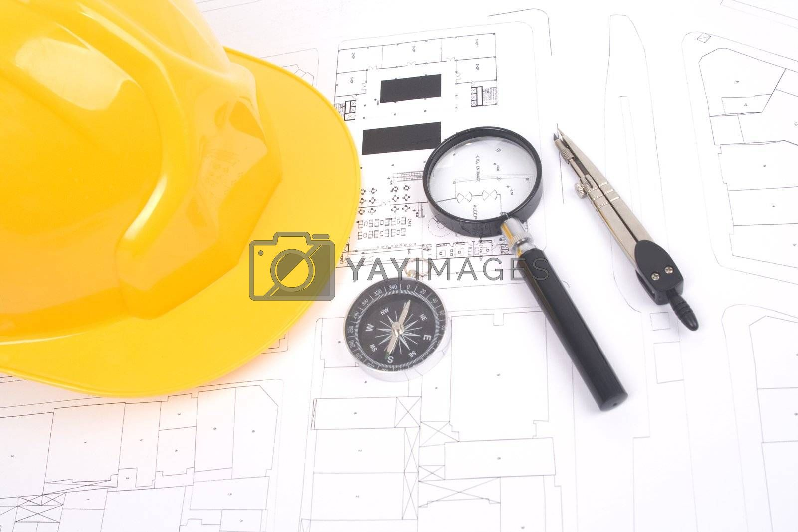 Building projects with architect drawing and protective tools