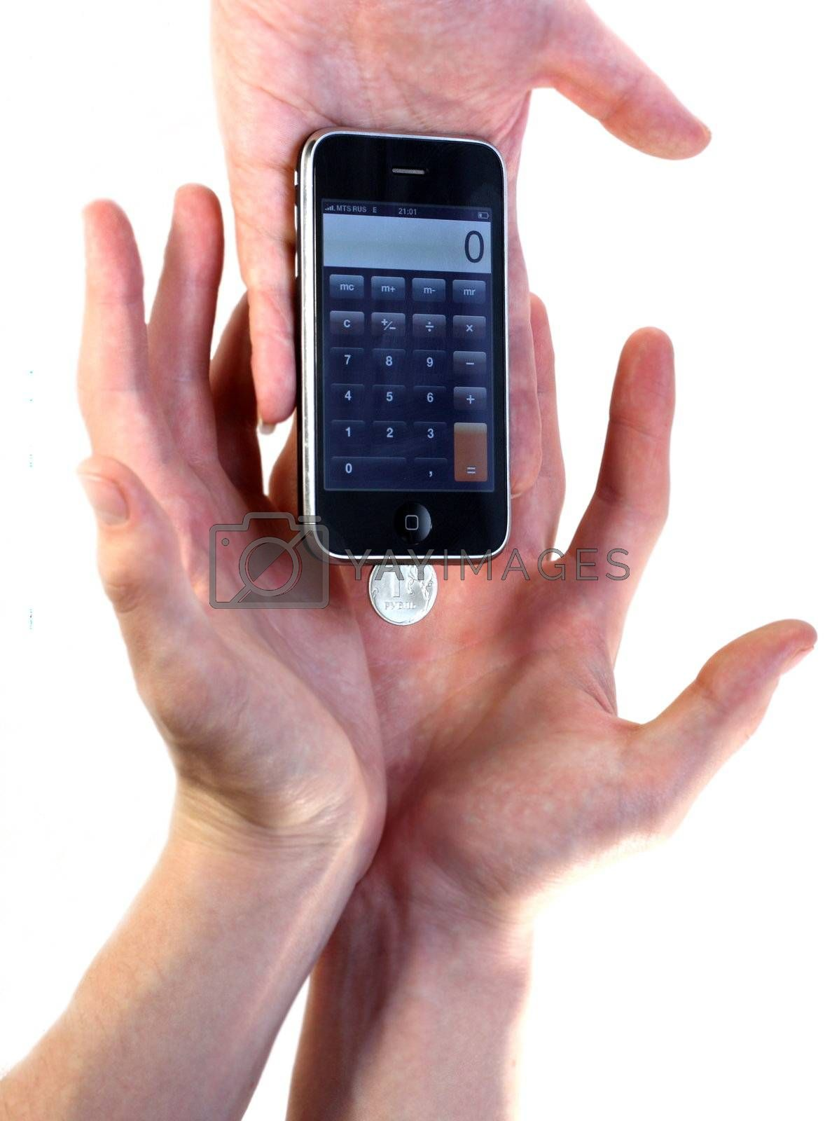 mobile, phone, money, rouble, hand, hands, income, business, to, take, give, receive, button, account