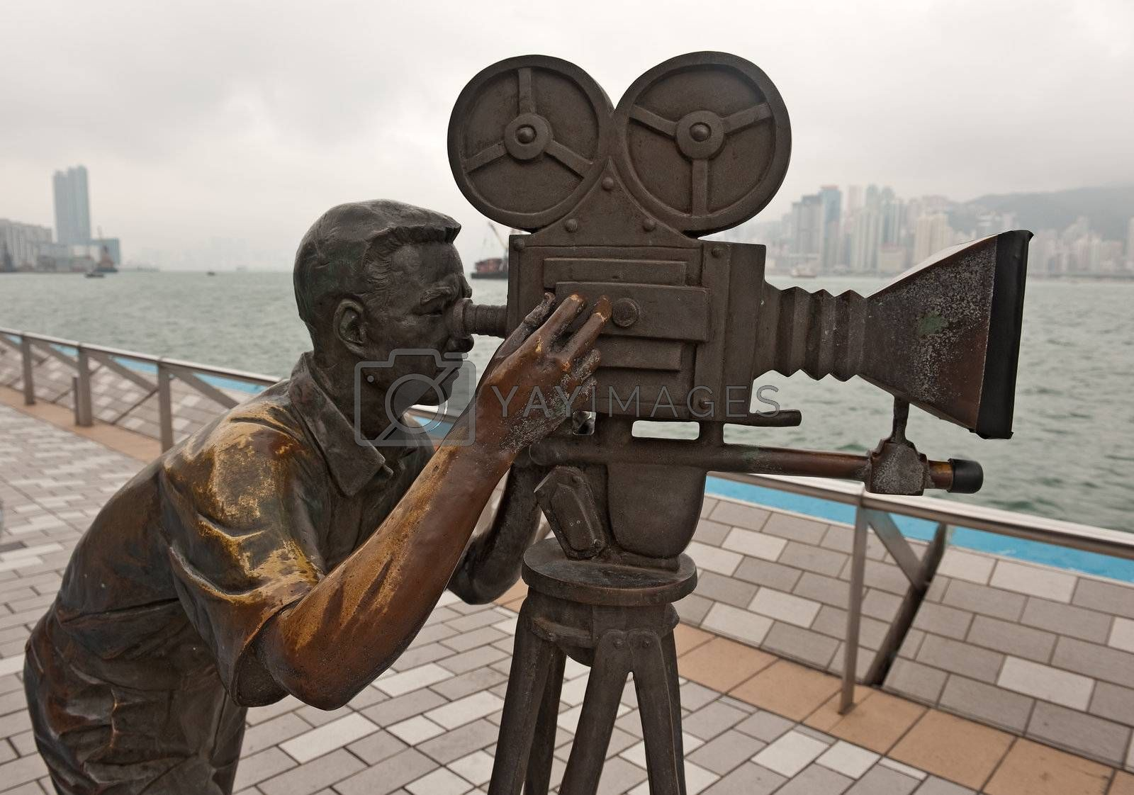 Bronze Cameramen statue in Avenue of stars in Hong Kong, Kawloon