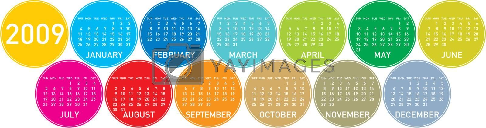 Colorful Calendar for 2009, in a circles theme