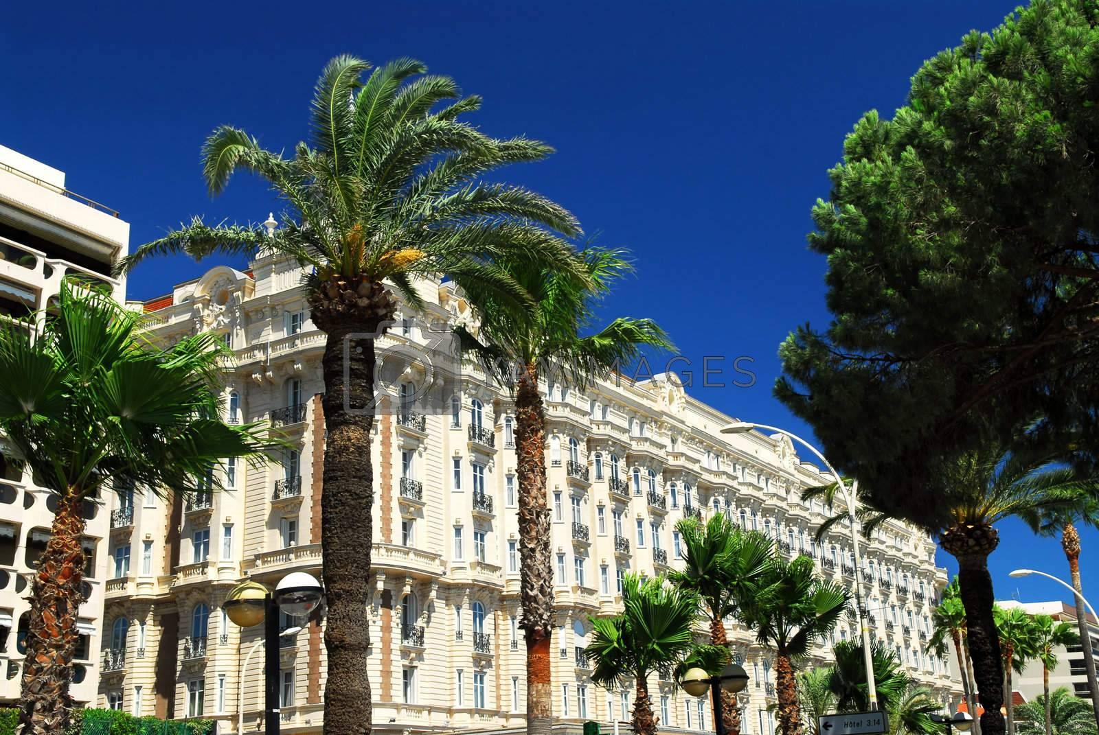 Luxury hotel on Croisette promenade in Cannes France