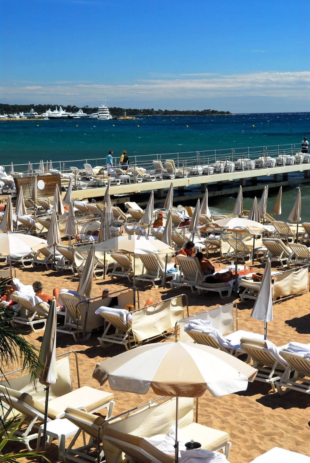 View on the beach from Croisette promenade in Cannes, France