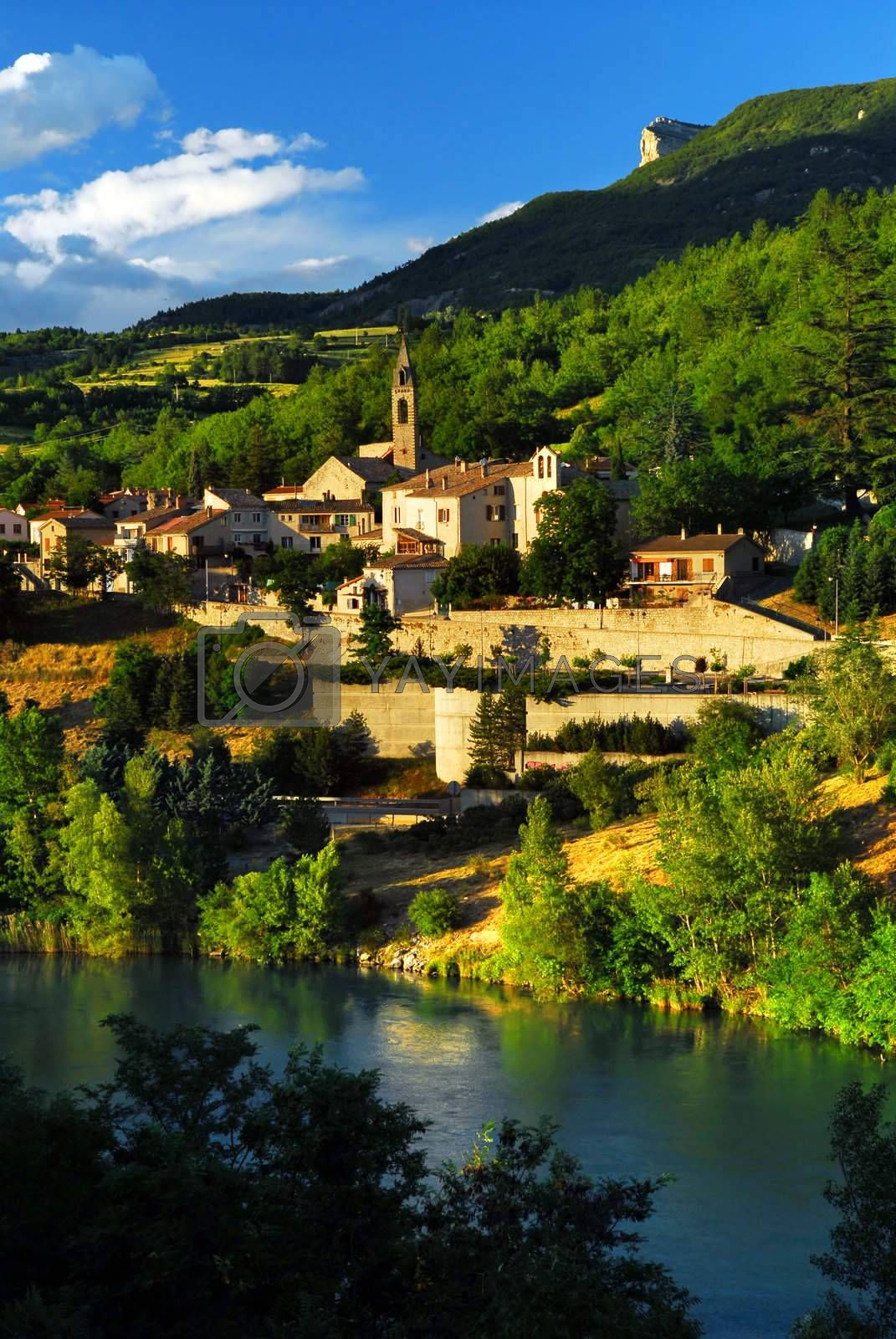 Scenic view on town of Sisteron in Provence, France