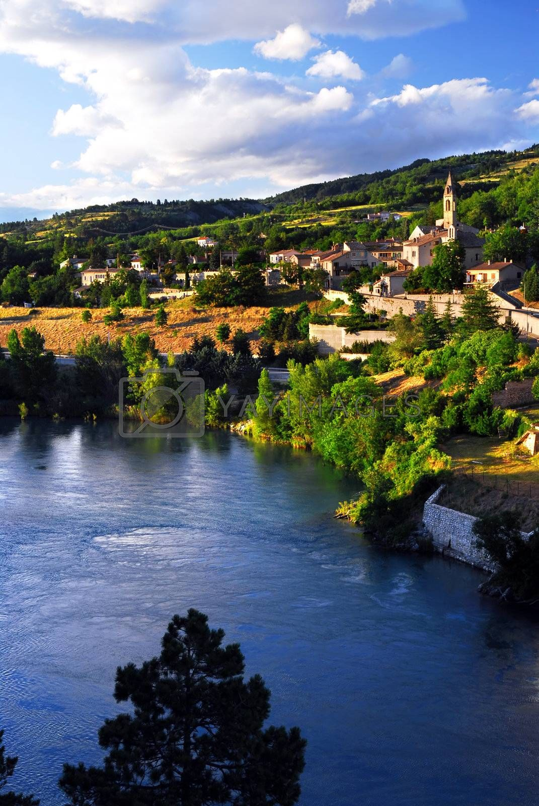 Scenic view on town of Sisteron in Provence France
