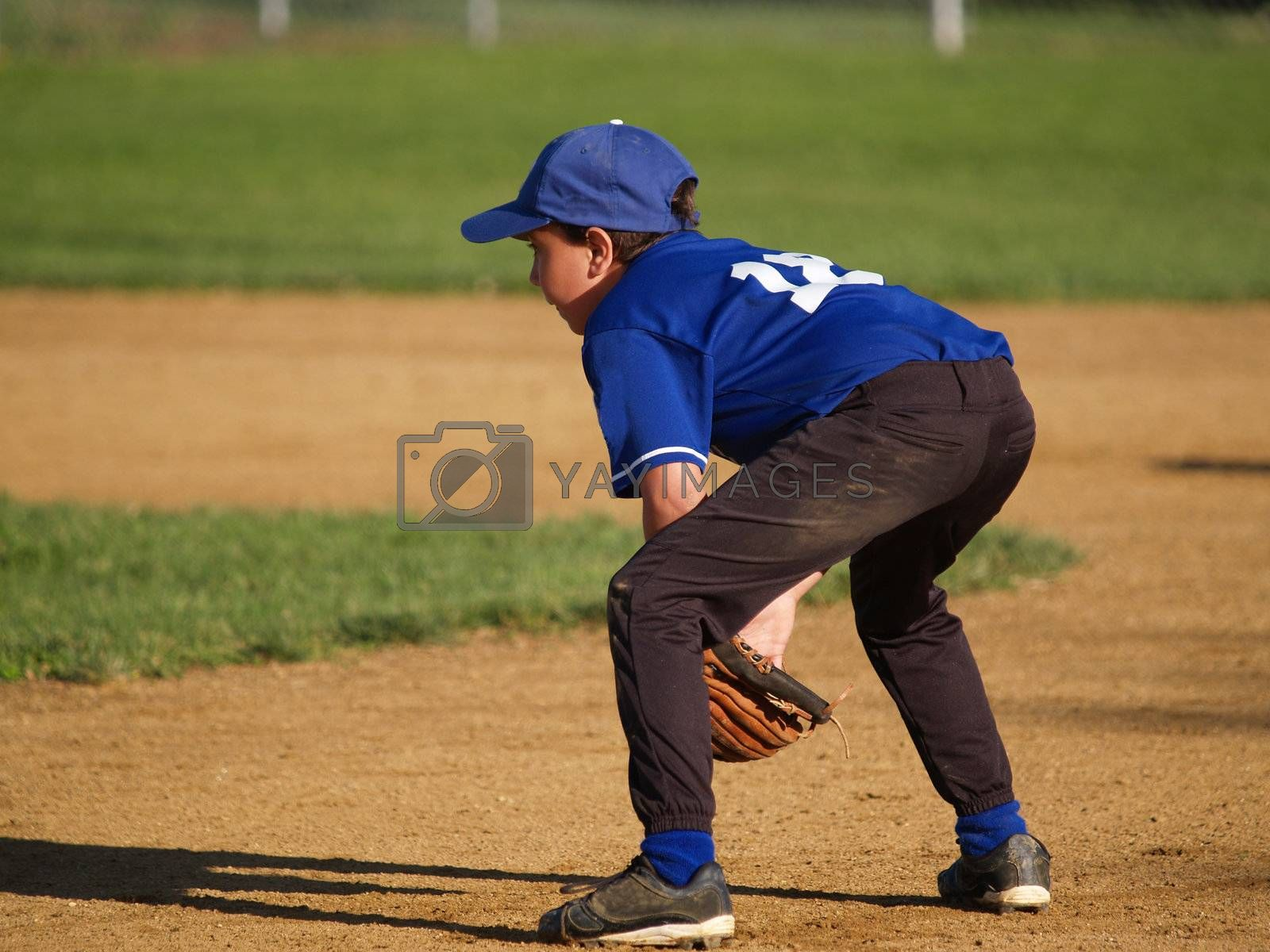 young little league infielder ready to play