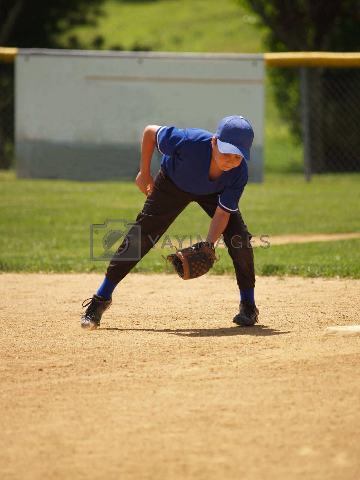 young little league baseball player catching a ground ball