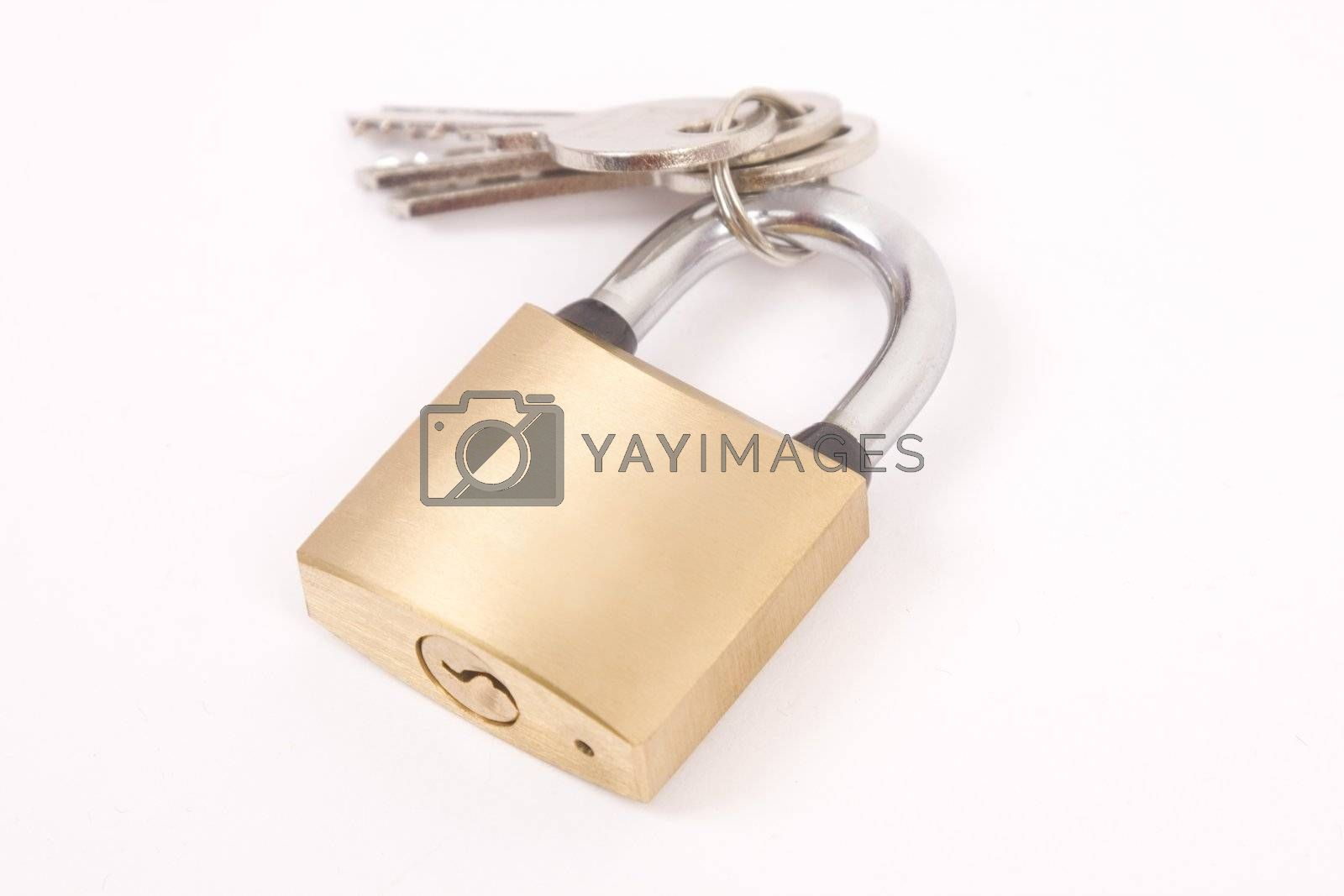 close up of padlock and key on white background with clipping path, shadow not included