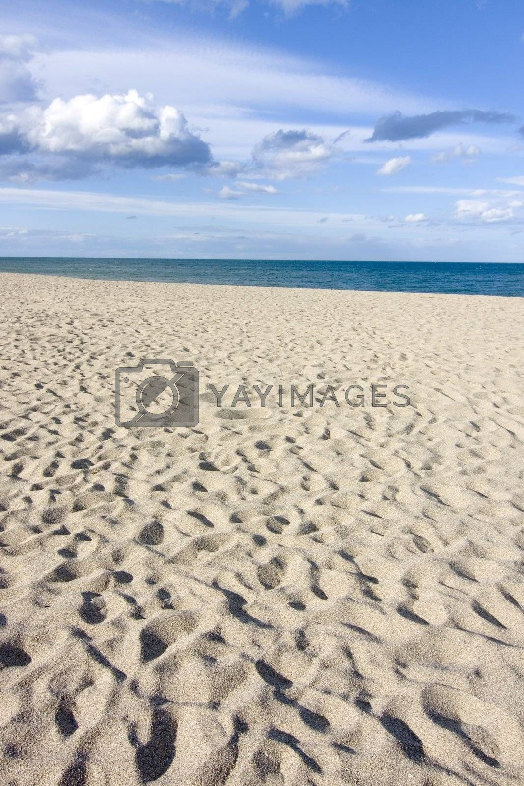 Cloudy sky above a sandy beach - Focus on the beach