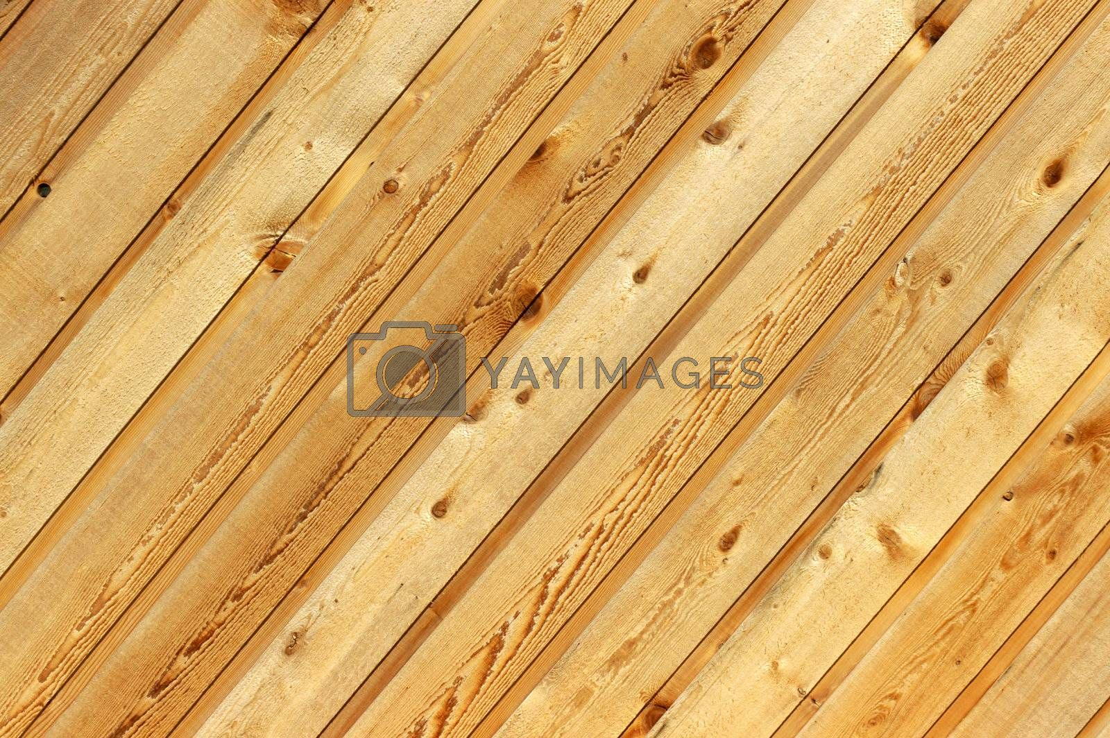 Diagonal wood siding background with knotholes and wood grain.