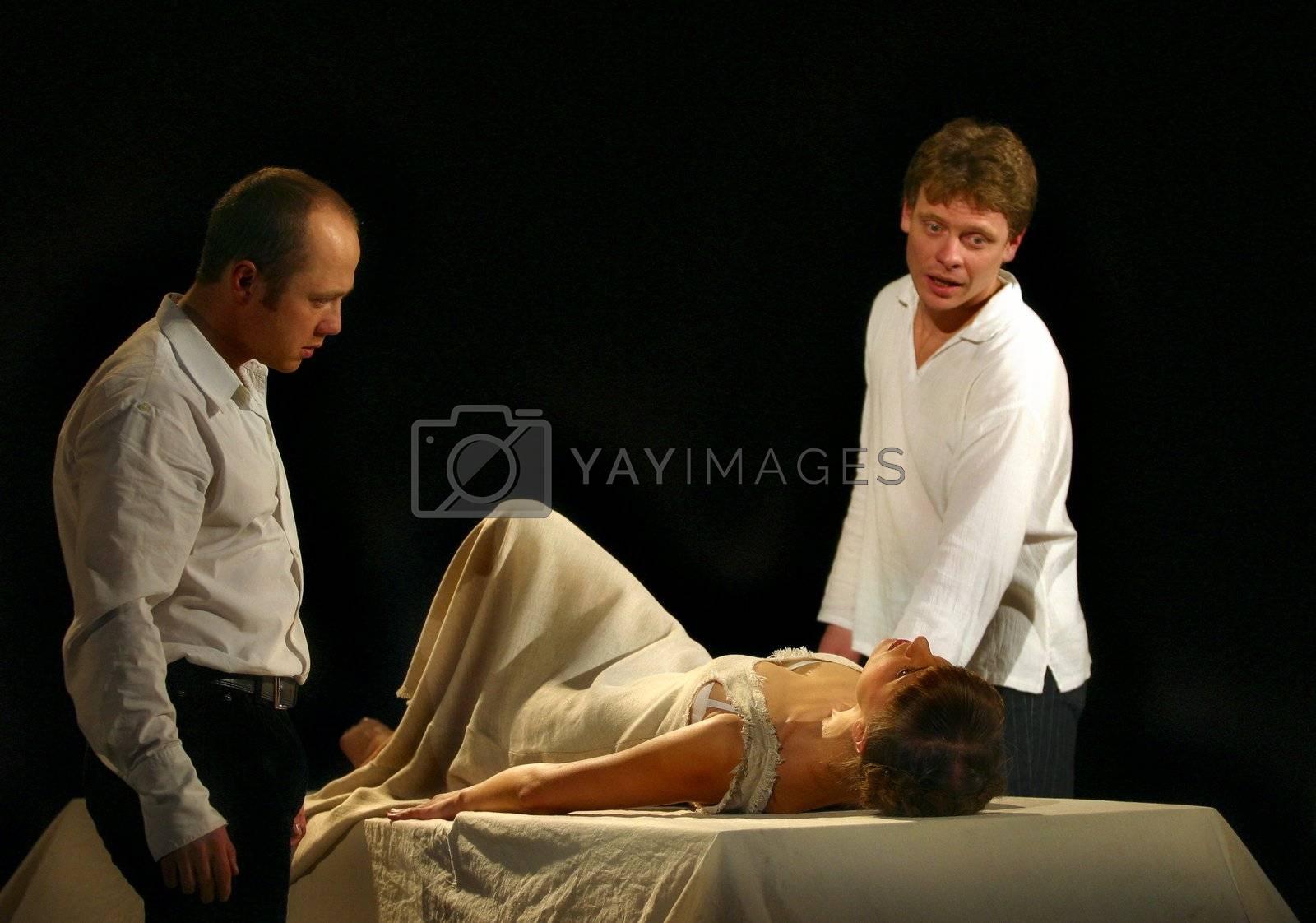 Actress Xenia Alferova, Eugeny Stychkin and Paul Majkov in performance `Display of love`