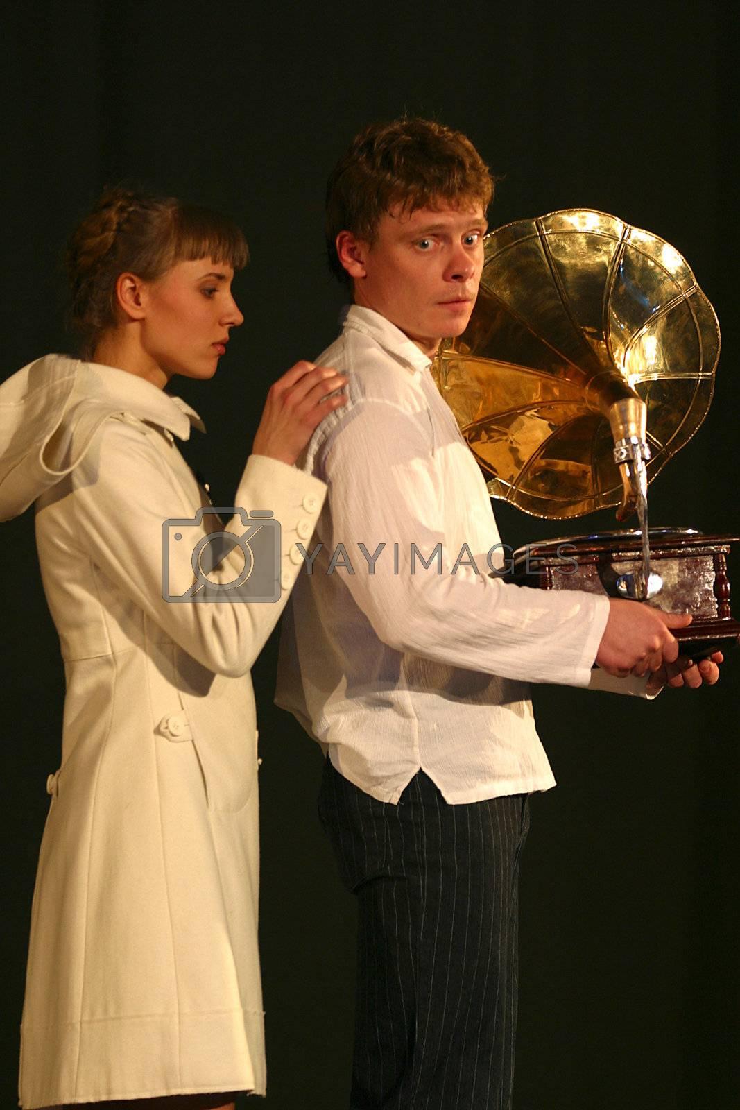 Actress Xenia Alferova and Paul Majkov in performance `Display of love`