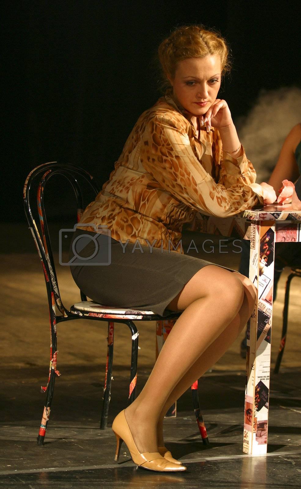 Actress Nadejda Shiryaeva in performance `Display of love`