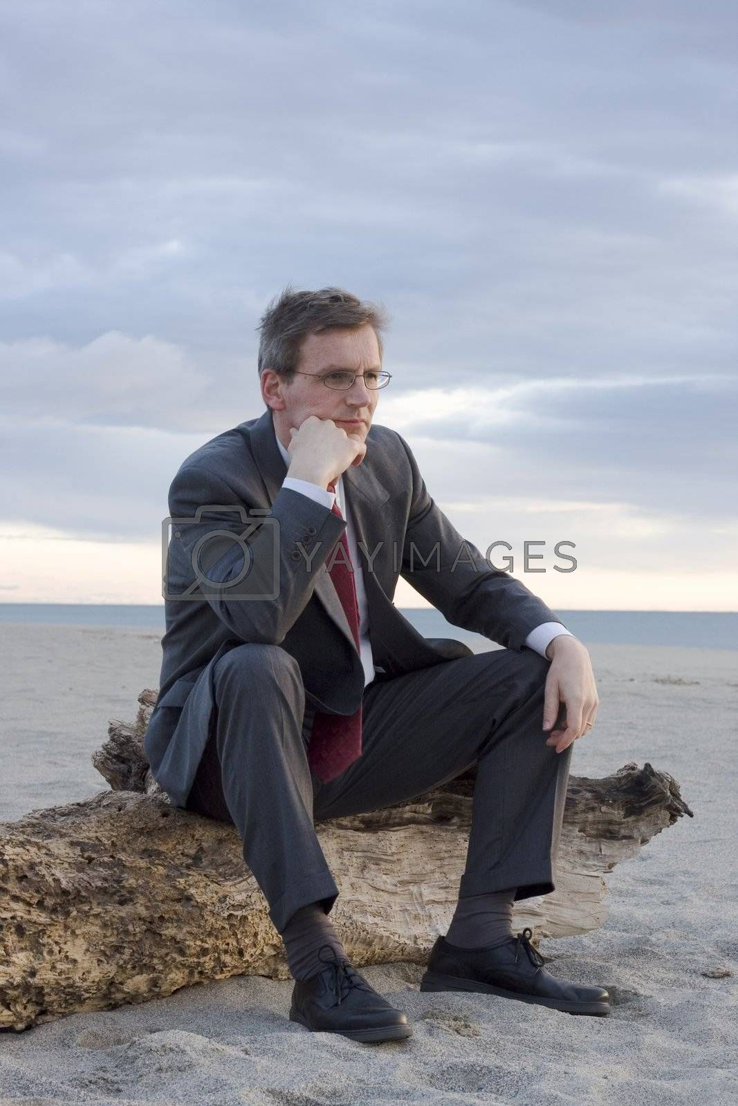 Pensive businessman sitting on a tree trunk on a beach