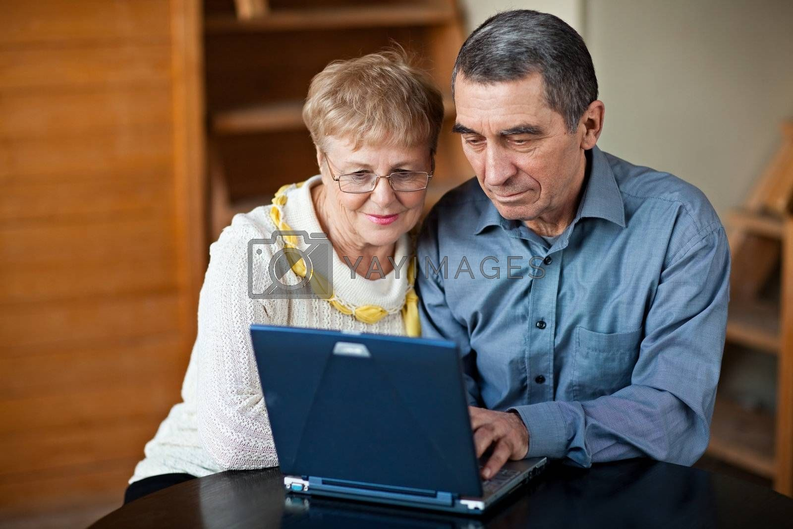 Old couple sitting together and using laptop