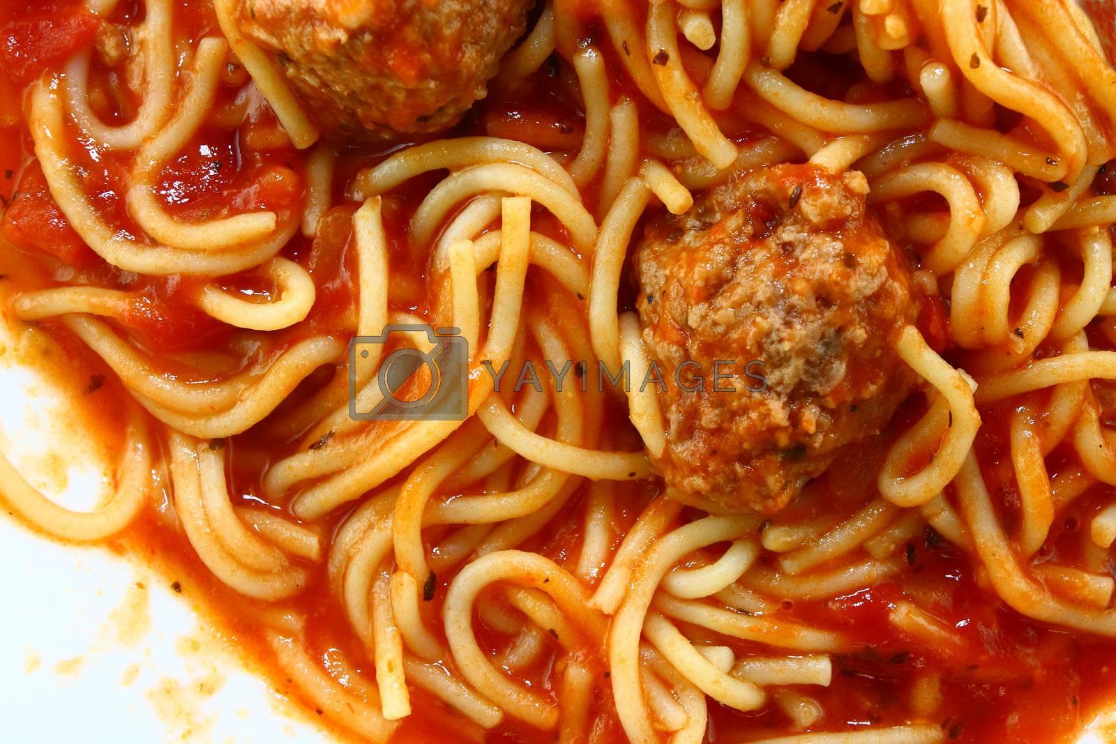 Spaghetti macro, overhead shot.