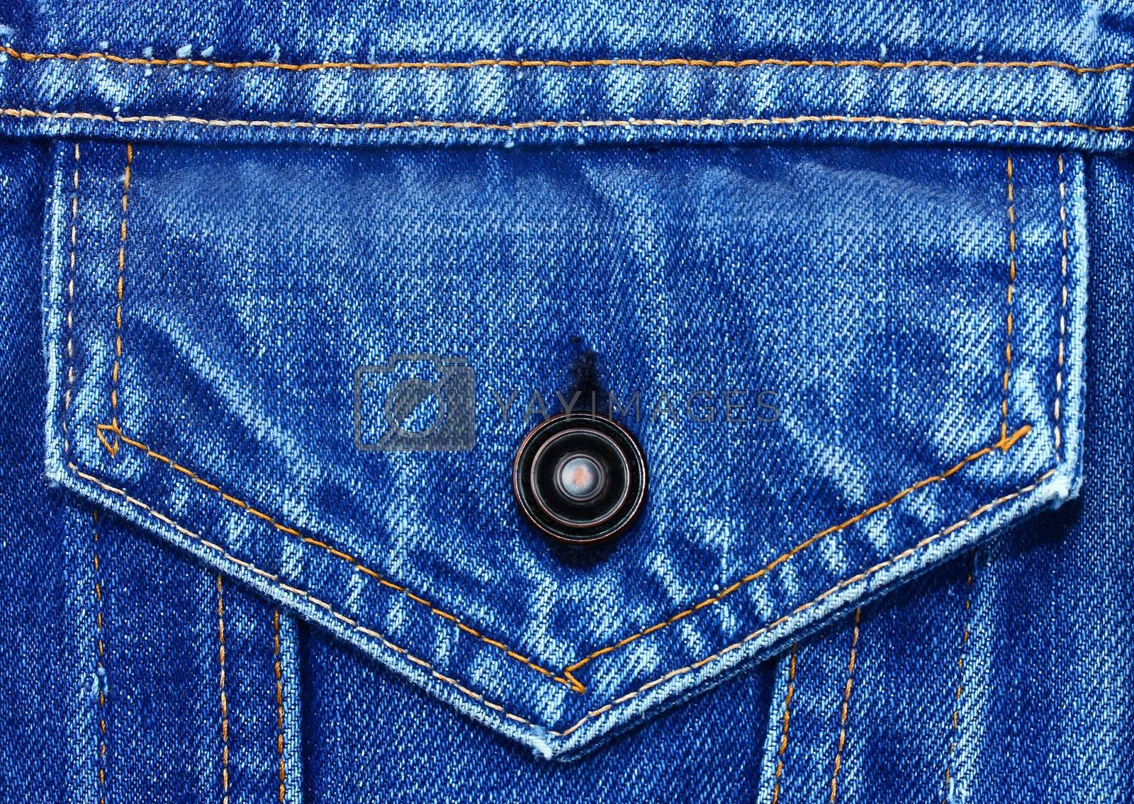 Denim pocket with button