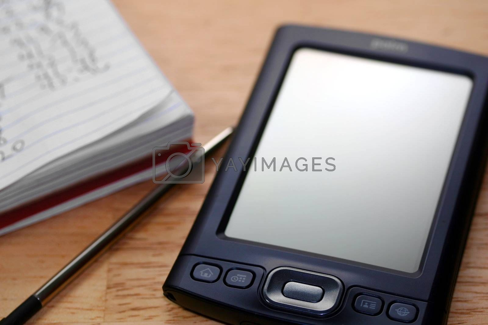 PDA with pad and stylus.
