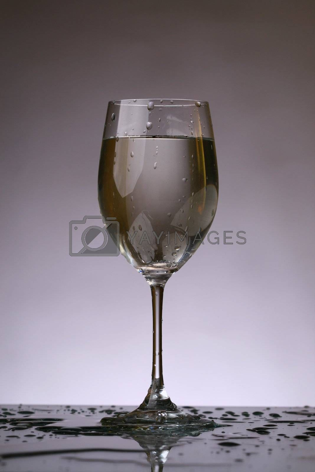 wine glass in dark place