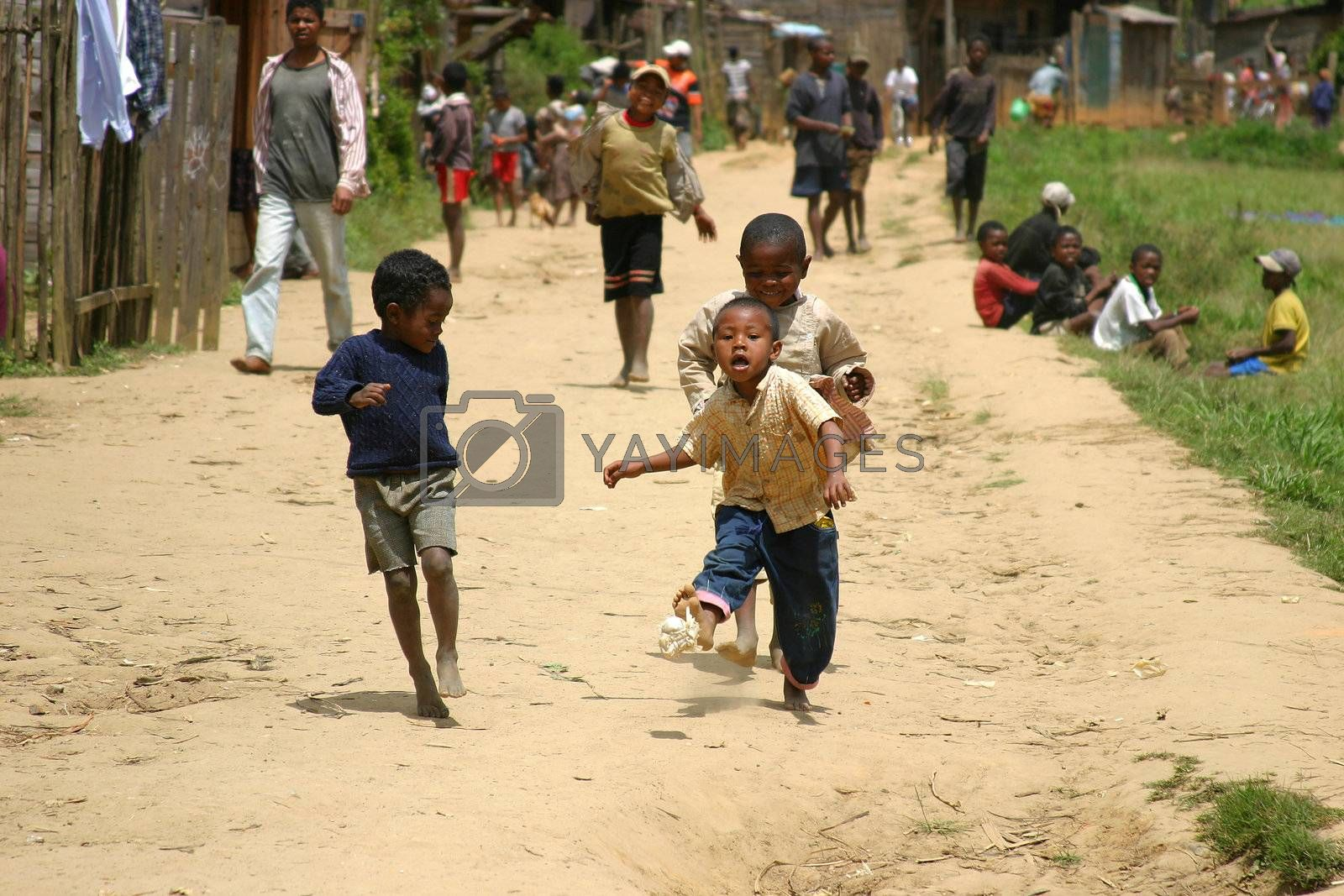 Kids in Madagascar playing with a home made ball