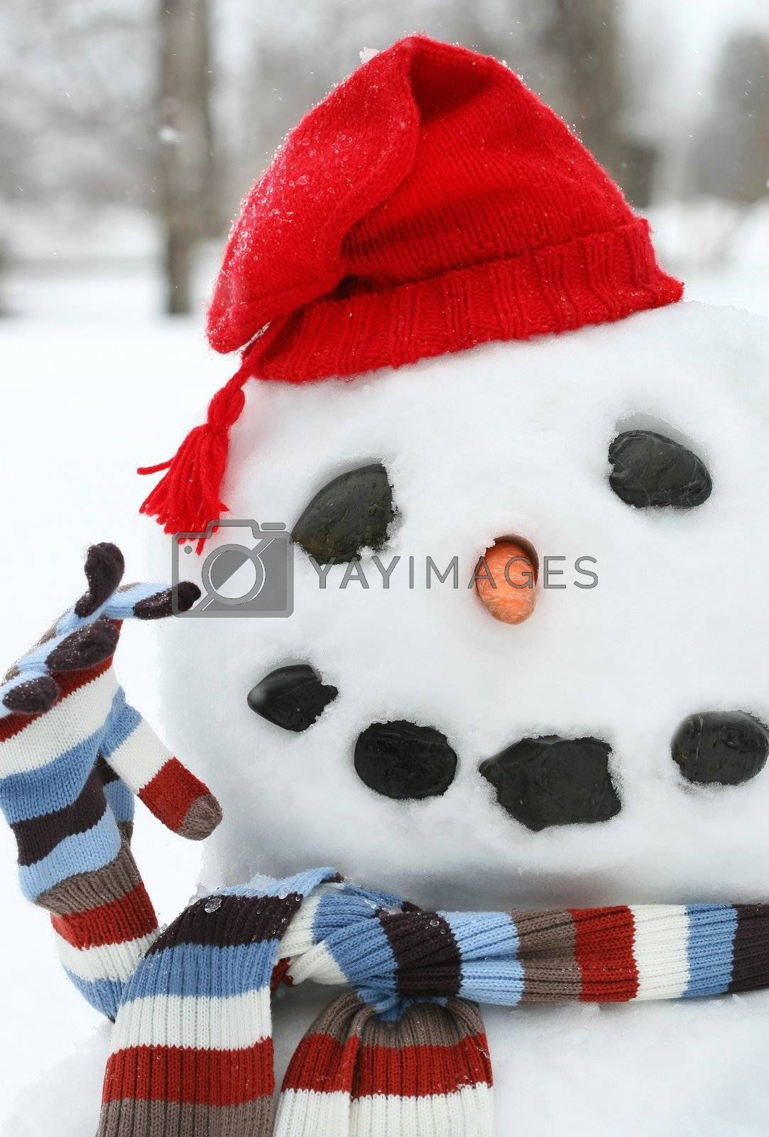 Smiley face snowman by Sandralise