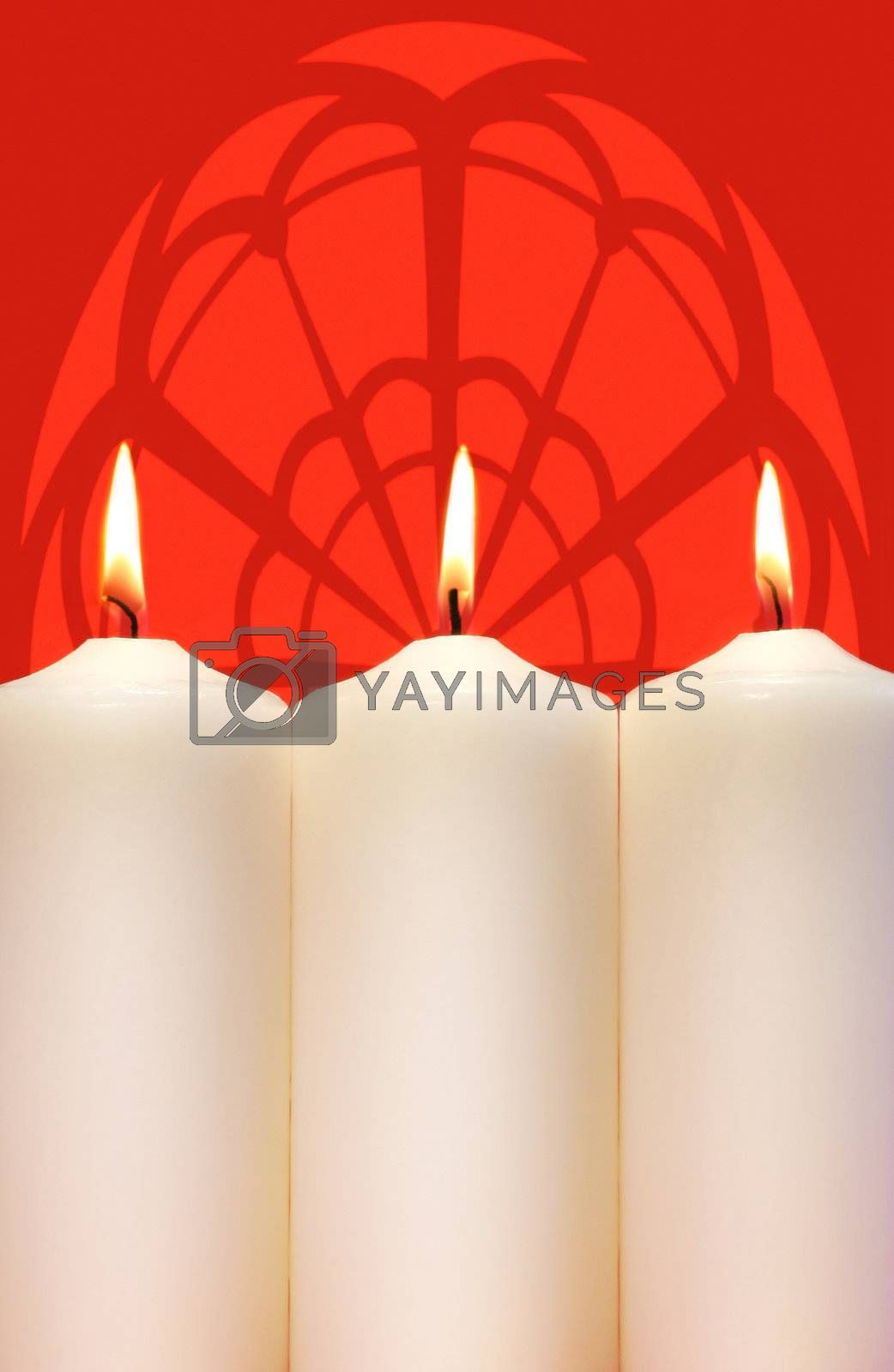 Three white holidays candles  by Sandralise