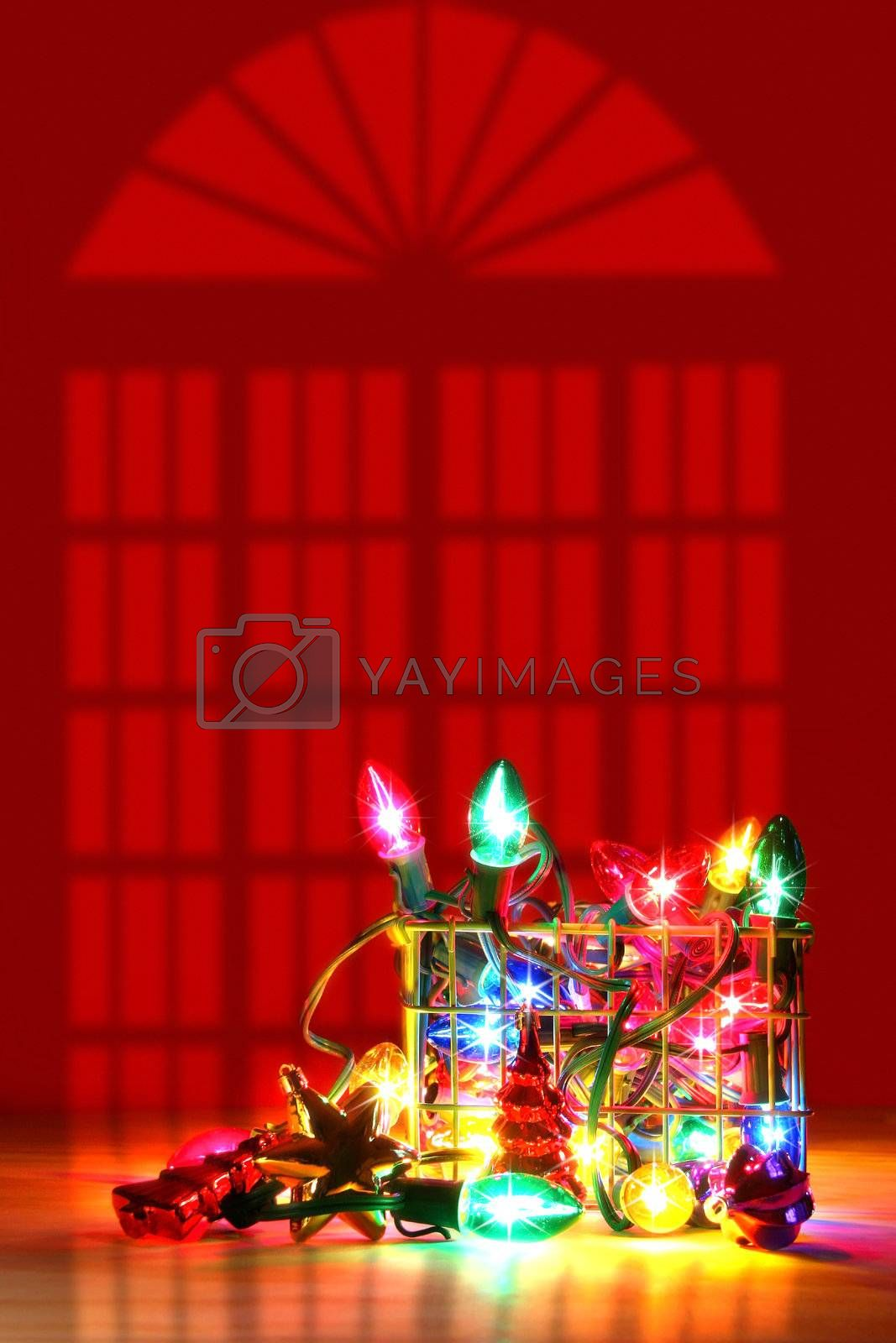 Metal basket filled with lights for decorating by Sandralise