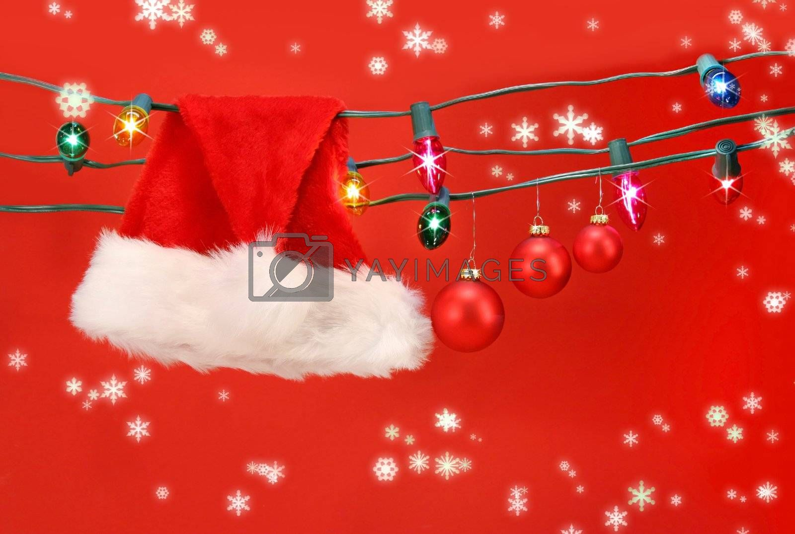 Hanging lights with santa hat by Sandralise