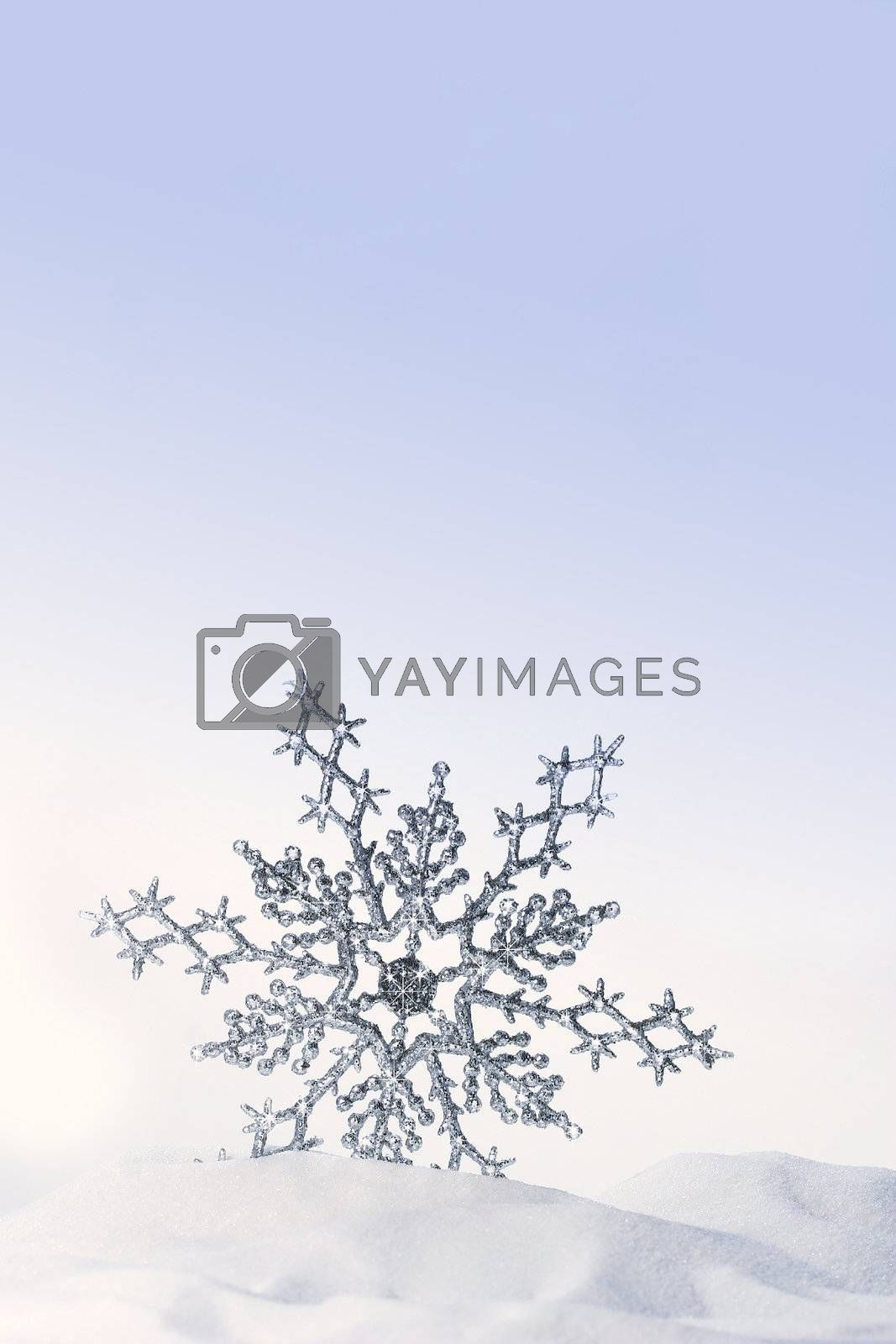 Sparkling snowflake in the snow by Sandralise