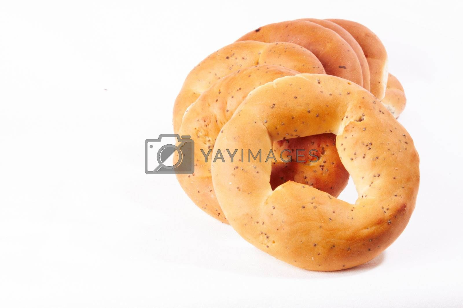 russian boublik - bread of the circular shape over white
