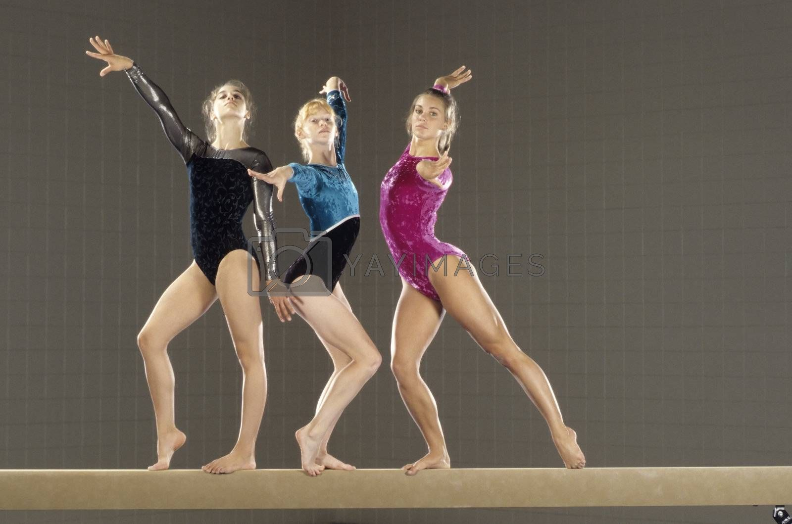 Attractive young female gymnasts pose on the balance beam