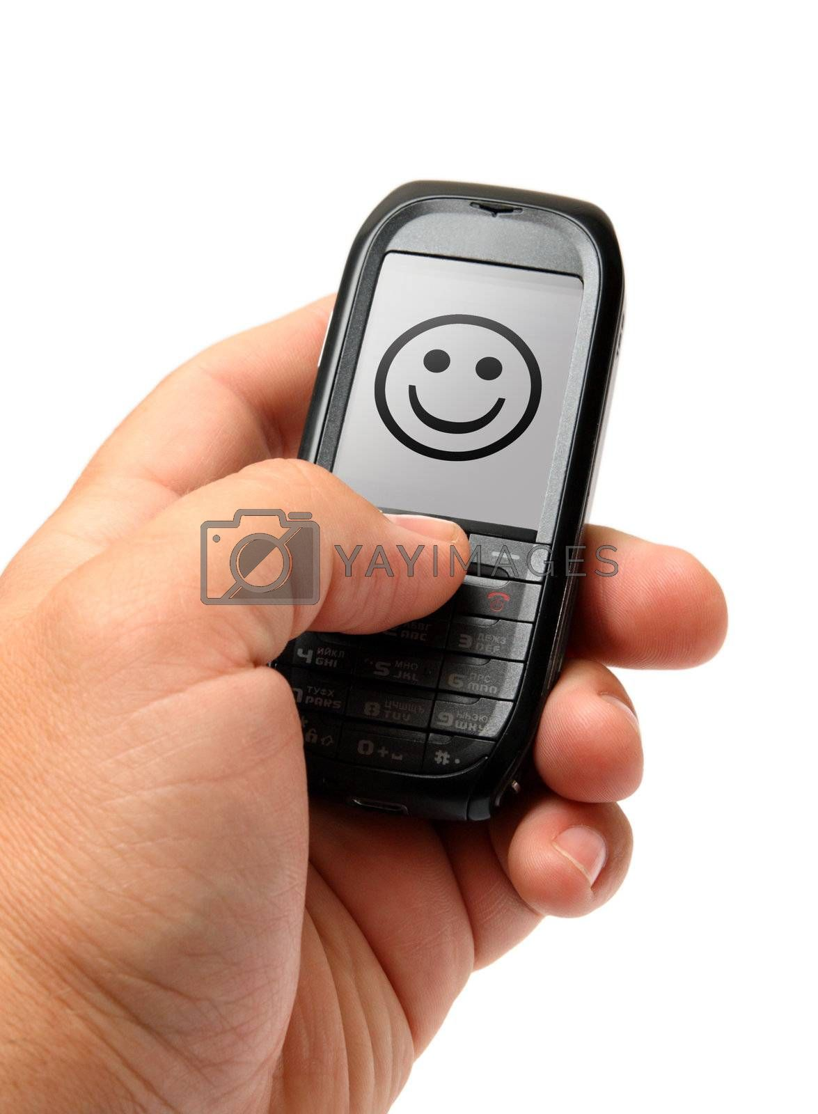 small black mobile phone in man hand