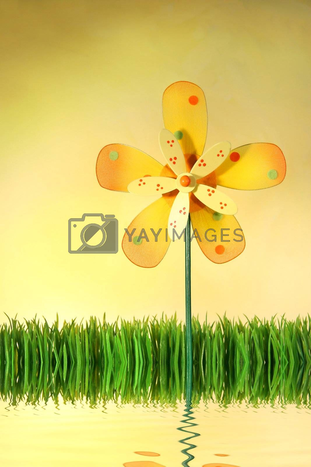 Multi-coloured windmill toy standing in the grass with water reflection/ Concept theme for spring and summer designs