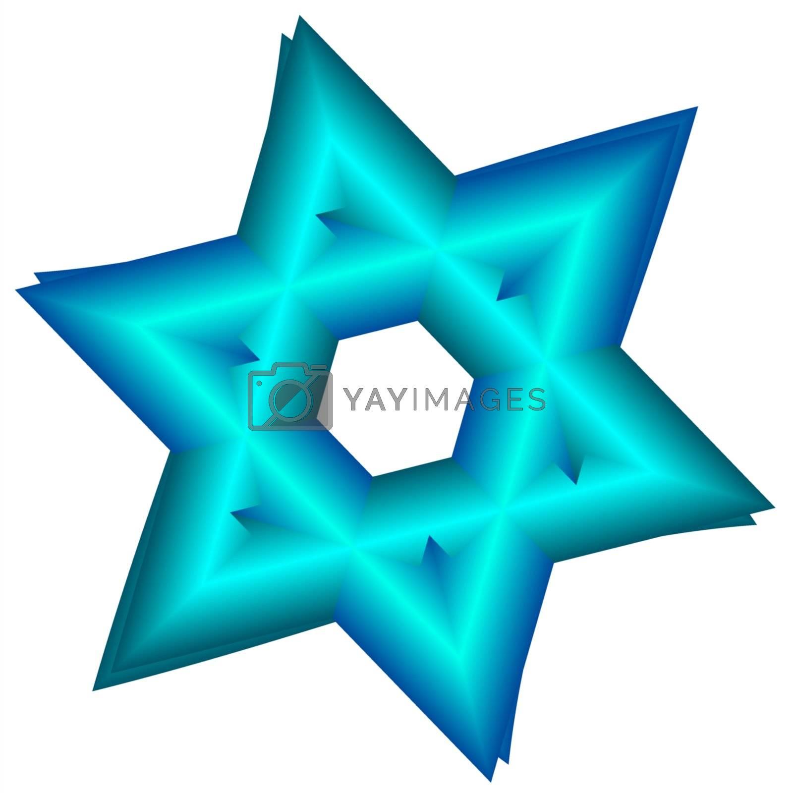 blue star of David, fractal generated