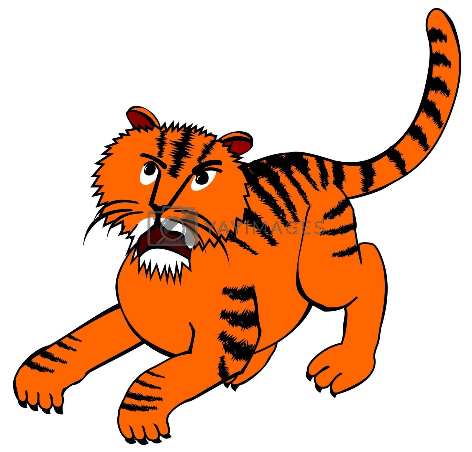 illustration of an angry tiger ready for jumping