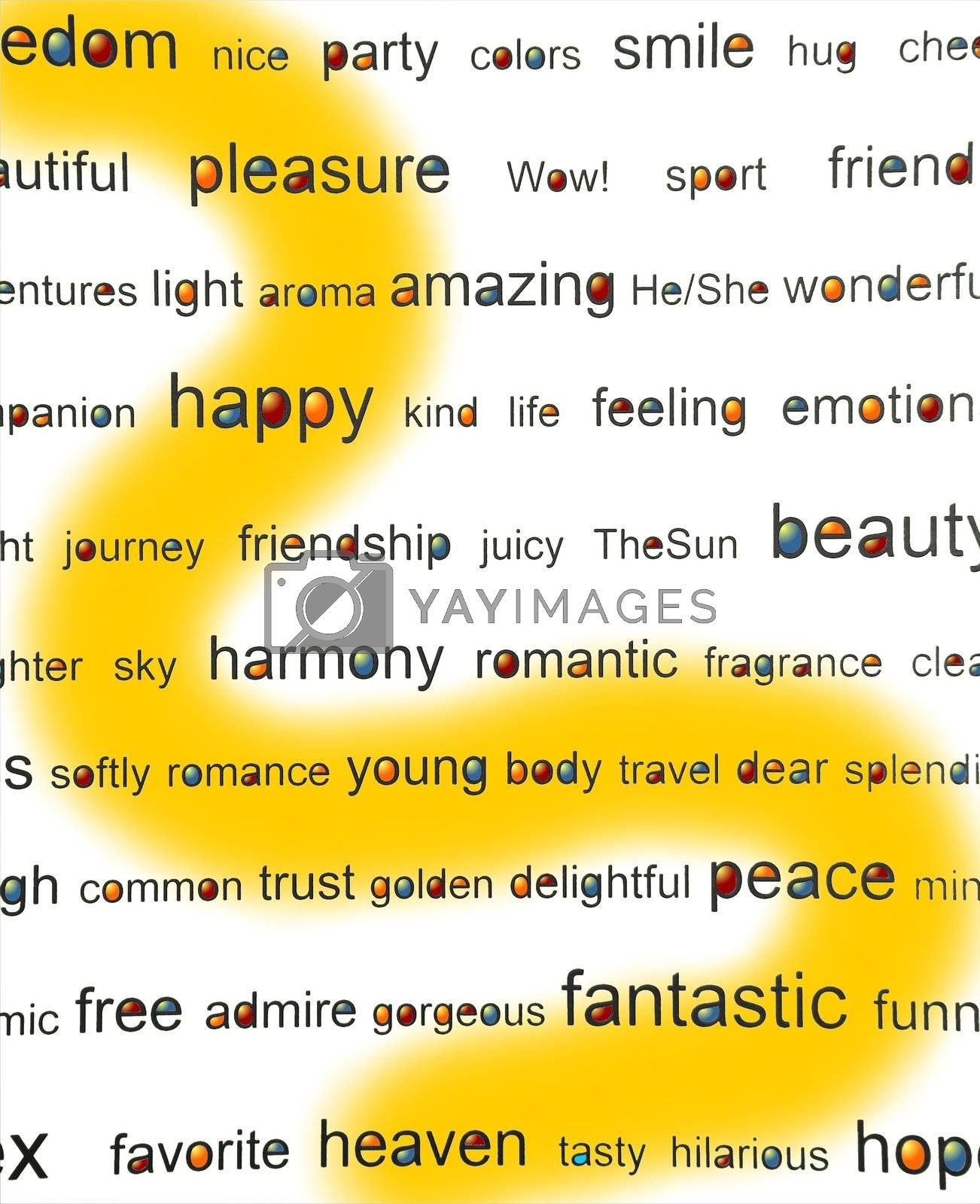 """Use the yellow ribbon """"positive emotions"""" card for backgrounds, illustrations, advert, etc."""