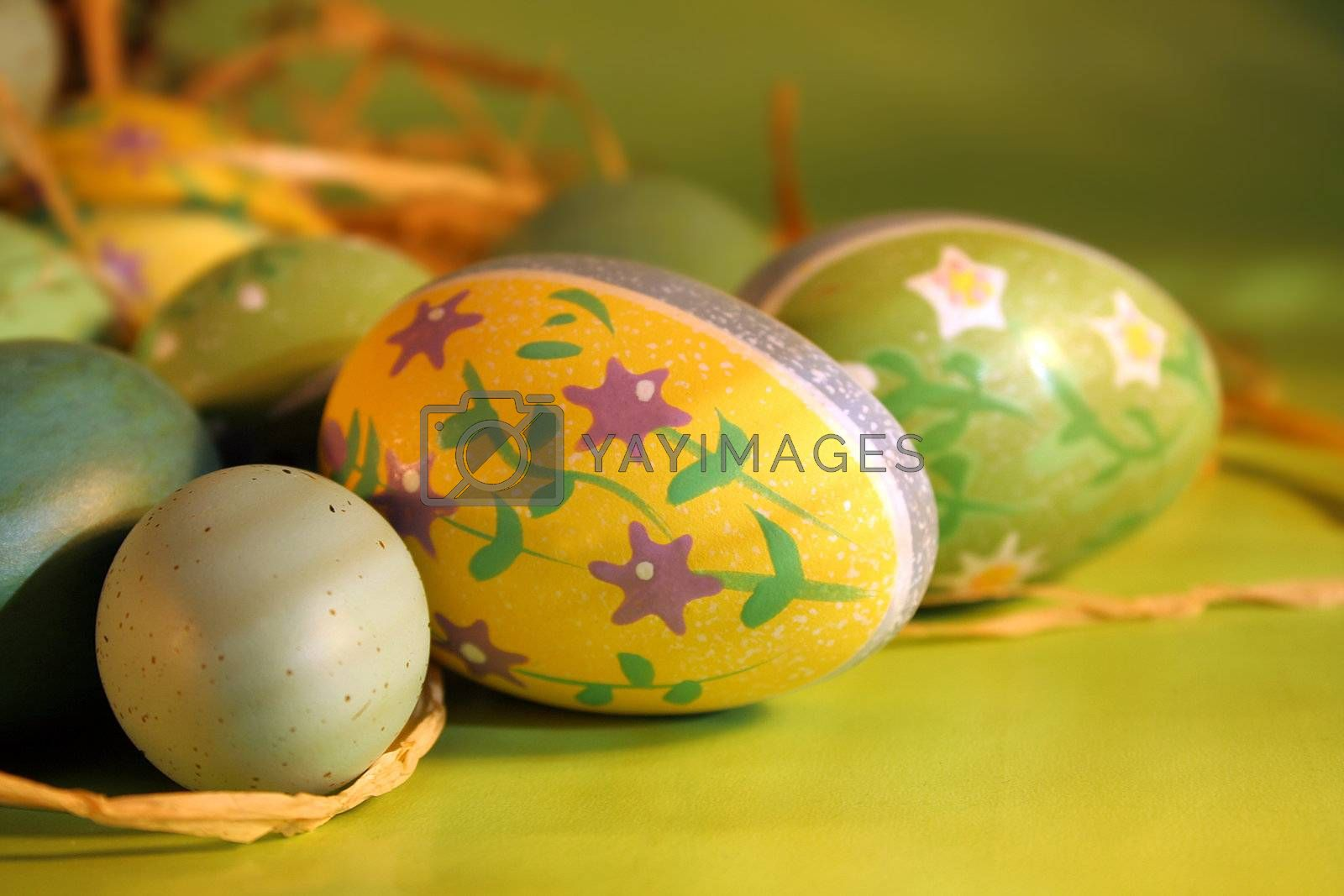 Decorated eggs on the counter for easter