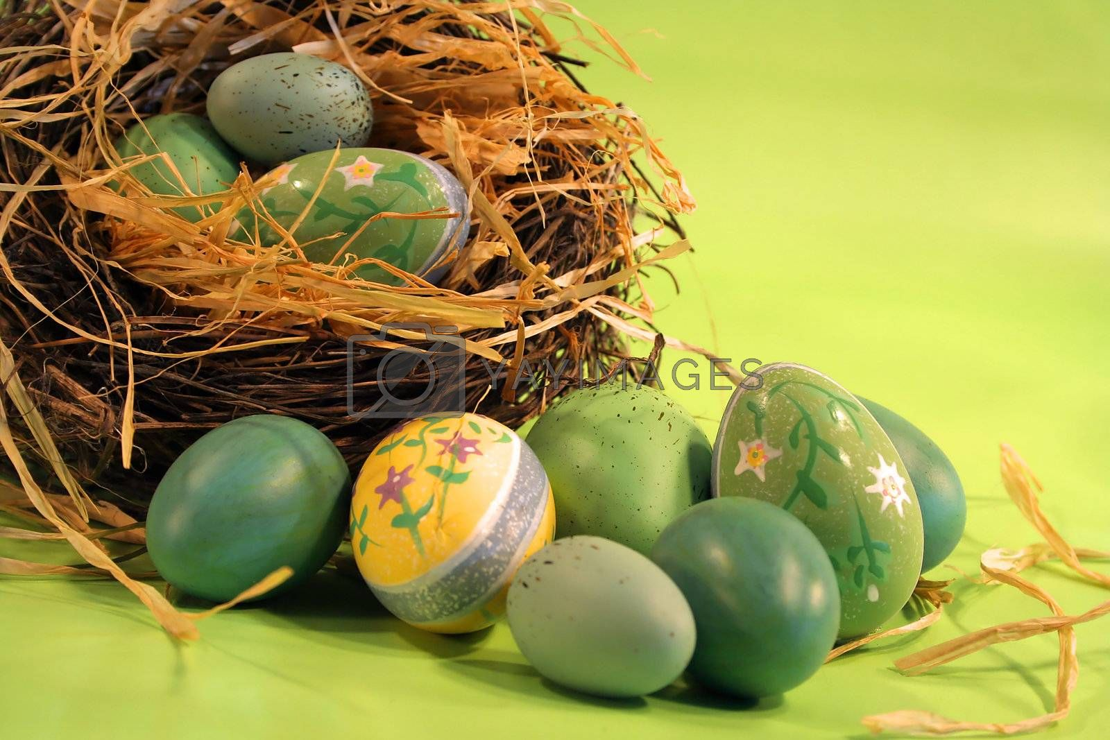 Decorated easter eggs on the counter