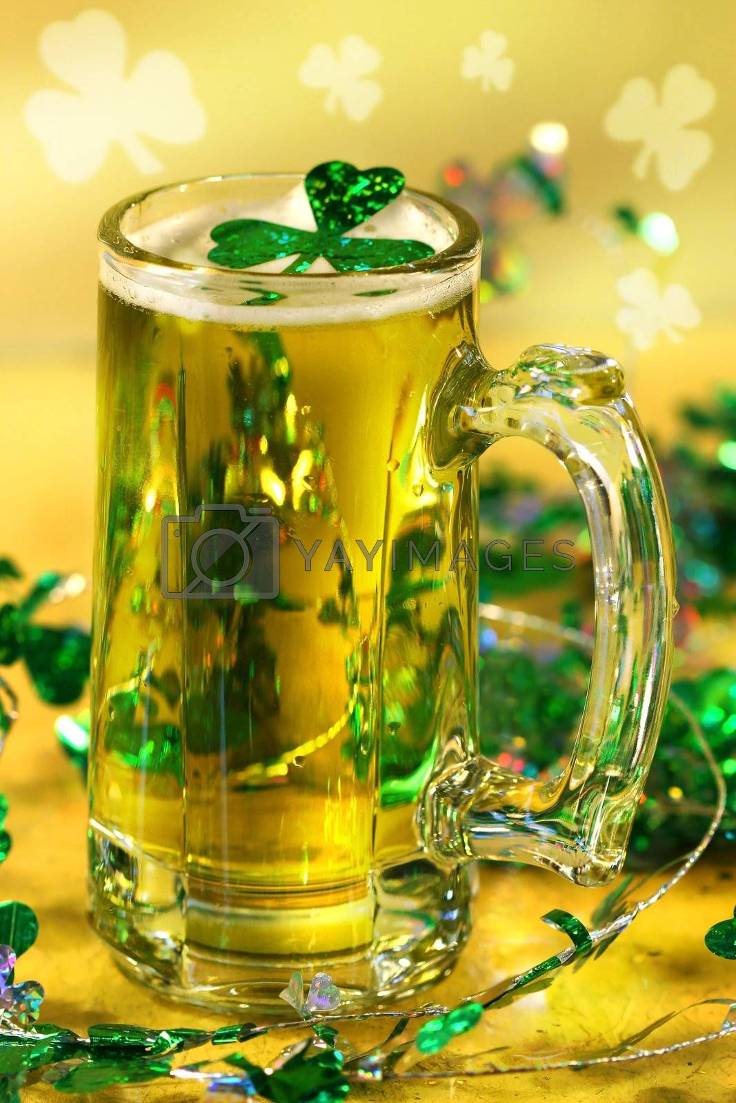 Mug of green beer for St Patick's Day festivities
