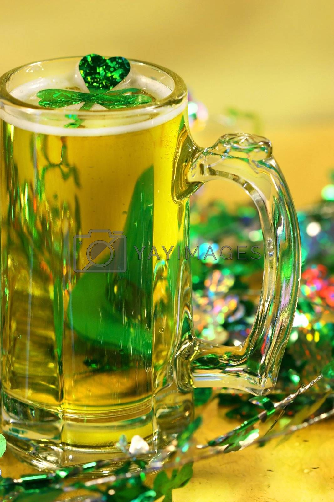 Mug of green beer for St Patick's Day